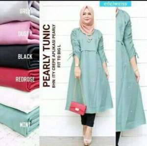 Baju Murah Terbaru Blus Pearly Tunik Linen Ruby Panjang Blouse Casual Hijab  Tunic Pakaian Terbaru 2018 Modern Fashion Baju Wanita Lengan Panjang Atasan  ... 612ba5b84f