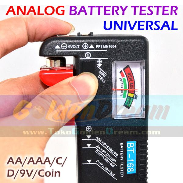 ANALOG Battery Tester Universal Baterai AA AAA C D 9V Coin Cell Batere Genzatronik