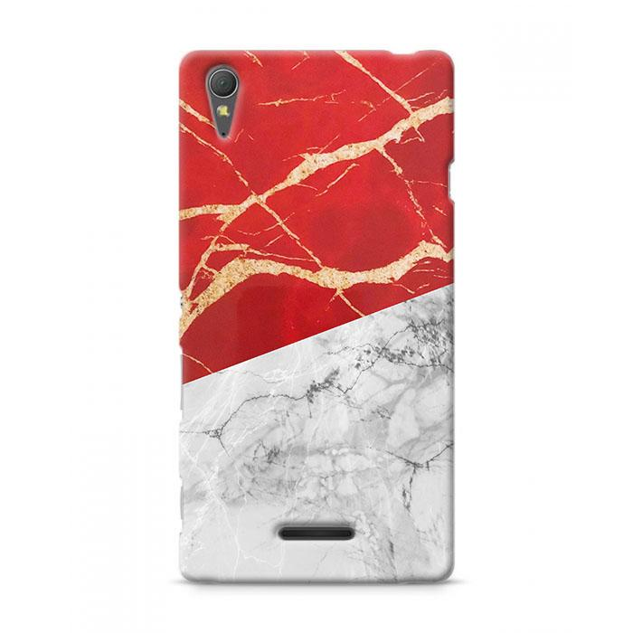 Premium Case Indonesia Red White Marble Flag Sony Xperia T3 Hard Case Cover