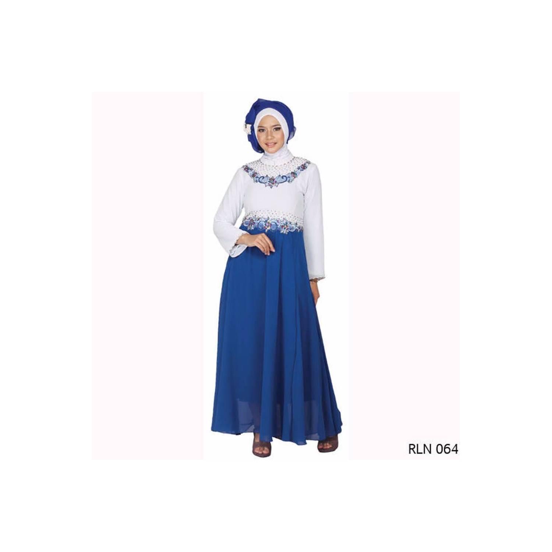 murah Baju Gamis Pesta Modern Biru Kombinasi Cantik