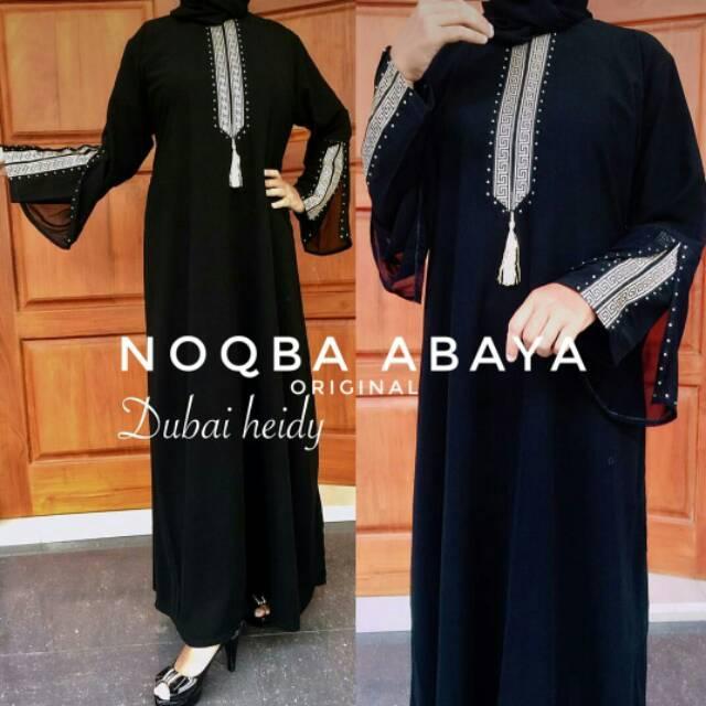 Exclusive Gamis Abaya Jubah Maxi Dress Dubai Arab Saudi Bordir Heidy Syari Gold Mewah Elegan Import (XL)