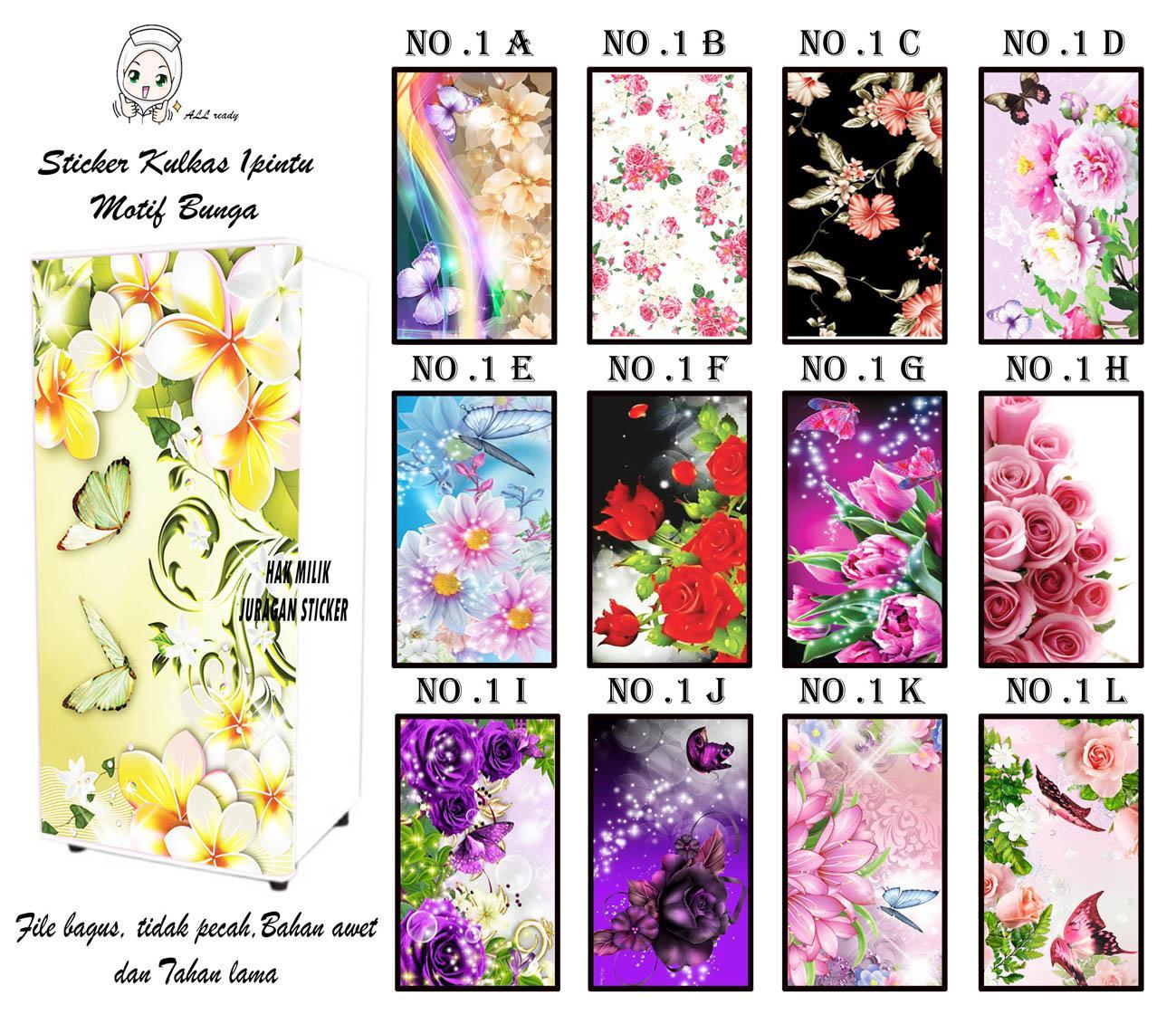 sticker kulkas indoor bunga A