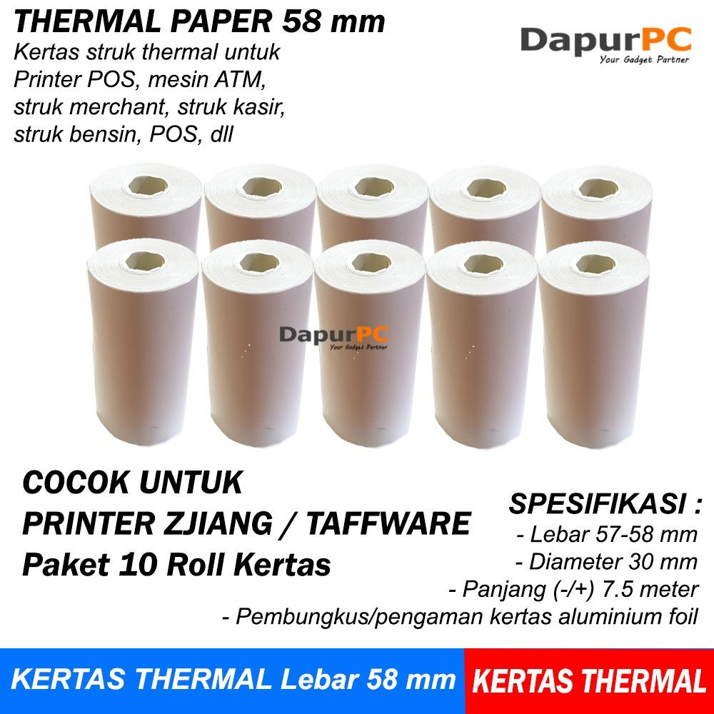 Kertas Struk 10 Roll Thermal Paper 58 X 30 Mm Untuk ATM Printer Zjiang