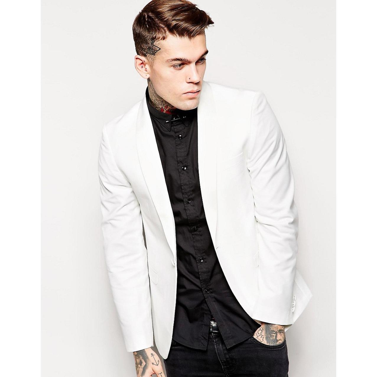 Jhonny Osvaldo - Jas Semiformal Jatted Pocket Single Button Suit - Jas Multimoment - Jas Casual - Jas Kerja - Jas Party - Jas Prewedding - White