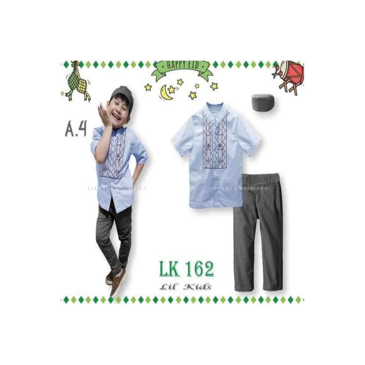 LK162 A4 Besar Baju Muslim Koko Pendek Anak Import Lebaran Peci Biru