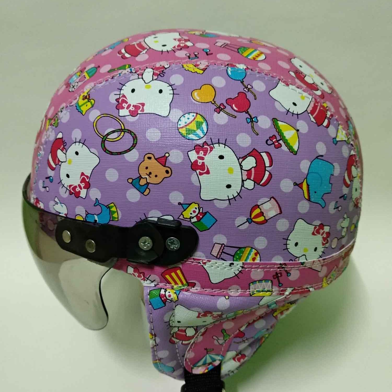 helm anak anak retro lucu motif hello kitty kecil batik usia 1-5 tahun