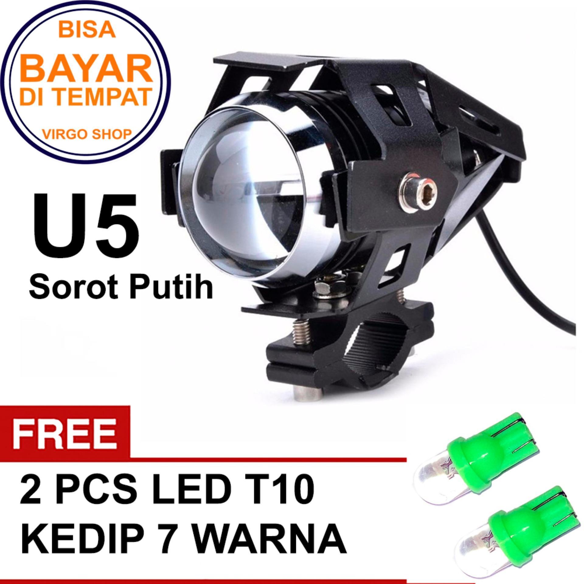 Lampu Sorot Tembak Led Cree U5 Transformer Light Motor Sorot Putih Bonus LED Kedip 7 Warna