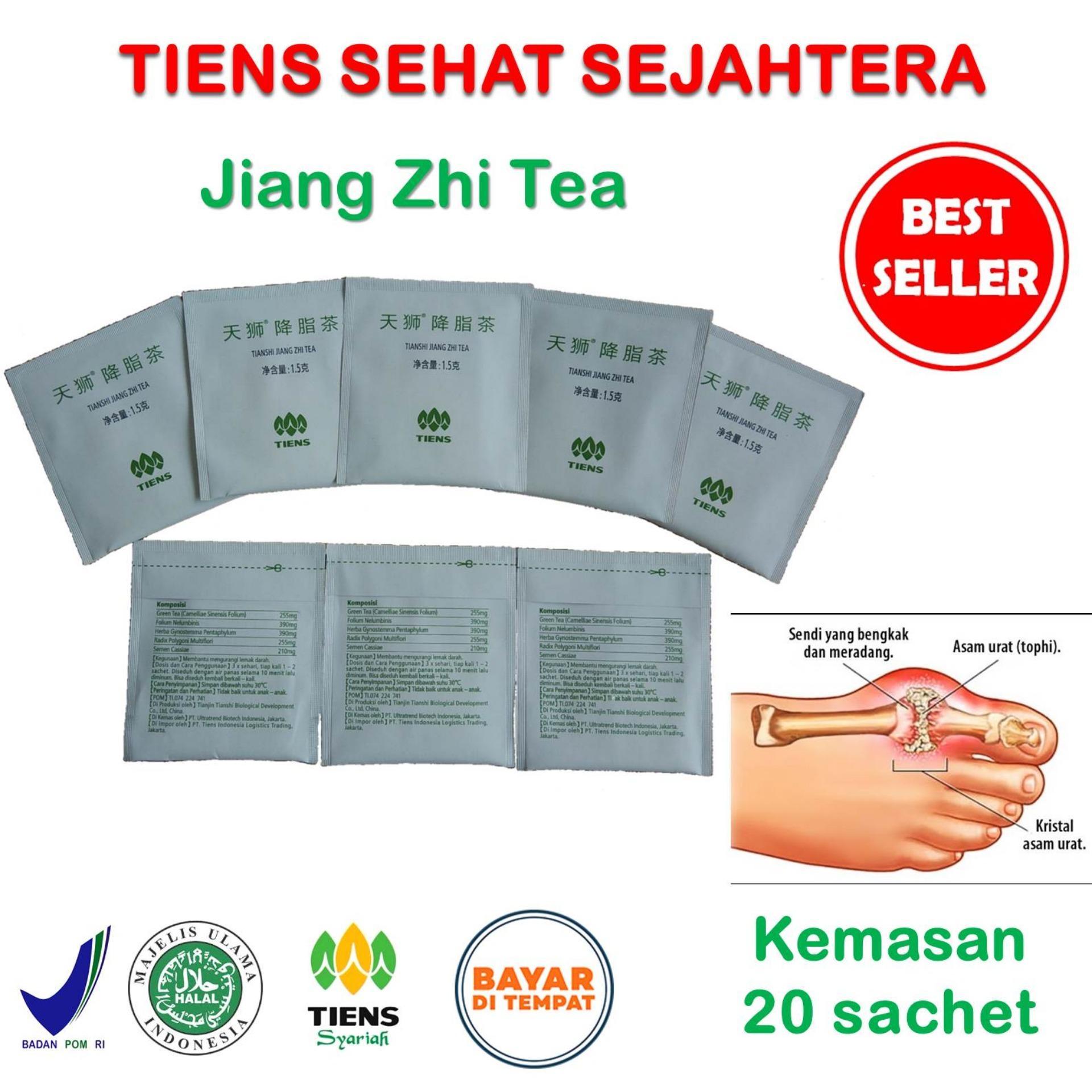 Tiens Jiang Zhi Tea / Teh Obat Herbal Asam Urat / Paket Hemat 20 Sachet + Gratis Kartu Diskon Toko Tiens Sehat Sejahtera
