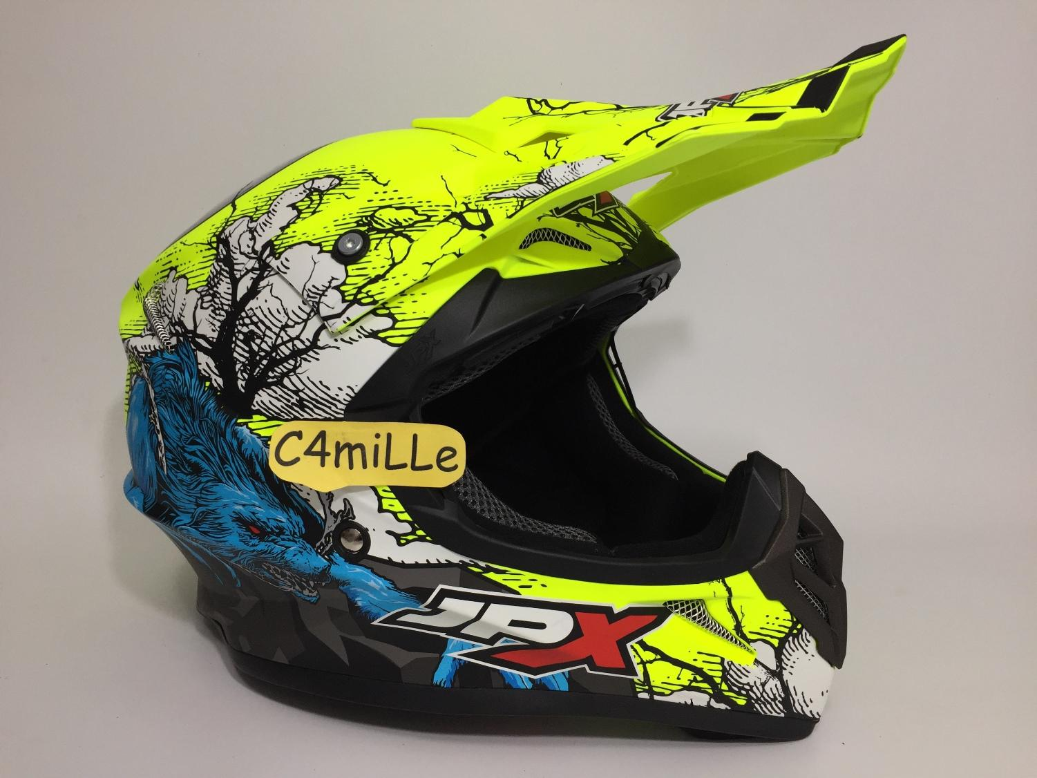 HELM JPX CROSS X14 YELLOW FLUO DOFF TRAIL SUPER CROSS