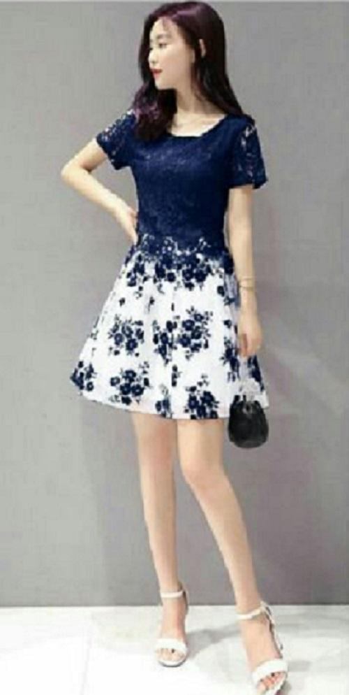 Daily Wear Dress Brukat Wanita Flower Brukat / Dress Korea / Dress Renda / Lace Dress