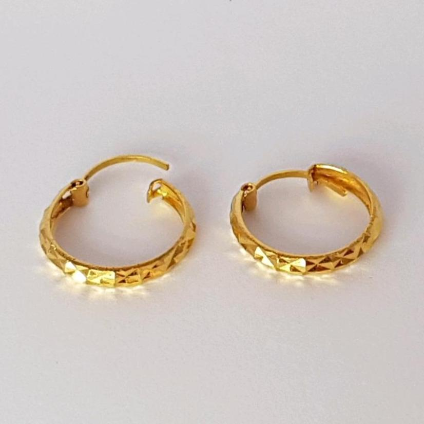 Anting Emas Asli Kadar 875 Gipsy Cristal / Anting Wanita / Earring / Anting Gypsi / Gold Earring