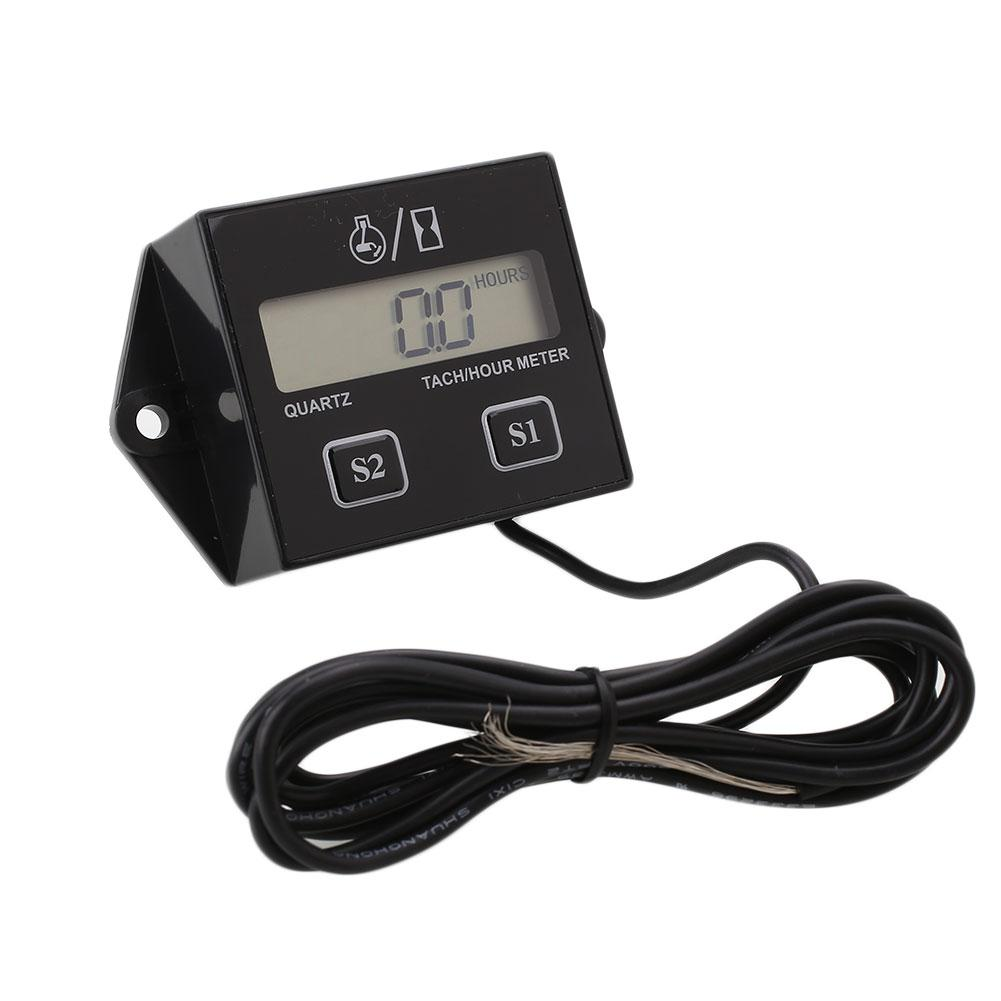 Digital Engine Tach Tachometer Hour Meter RPM Inductive For Motorcycle Motor ATV