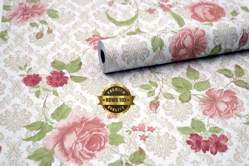 Wallpaper Sticker Dinding Batik Bunga Mawar 10m x 45cm