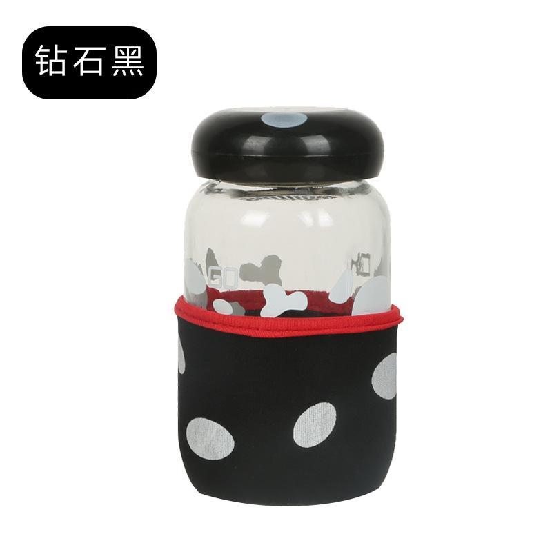 Botol Kaca Jamur dengan Pouch Lucu - Botol Jamur B79-2 - Botol Air Minum