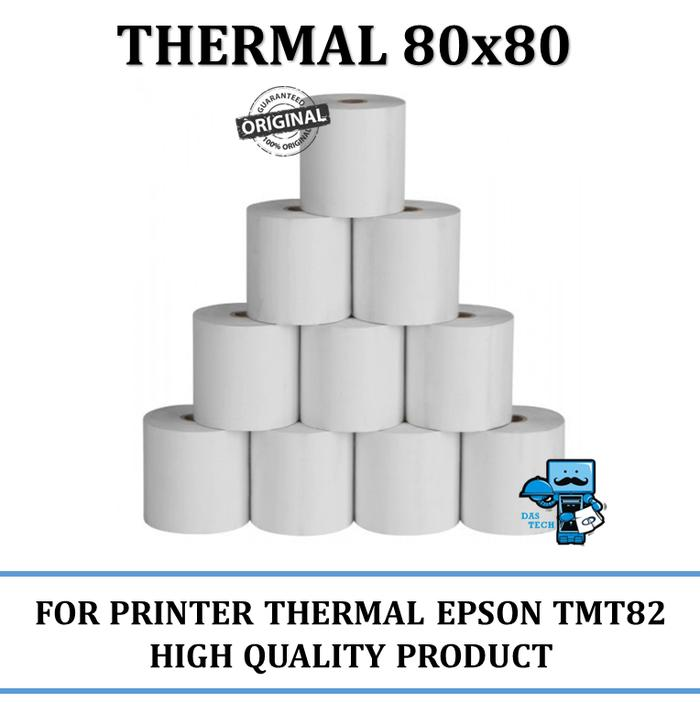 Hemat10%!! Kertas Thermal 80X80 Untuk Printer Thermal Contoh: Epson Tmt82, 88 - ready stock