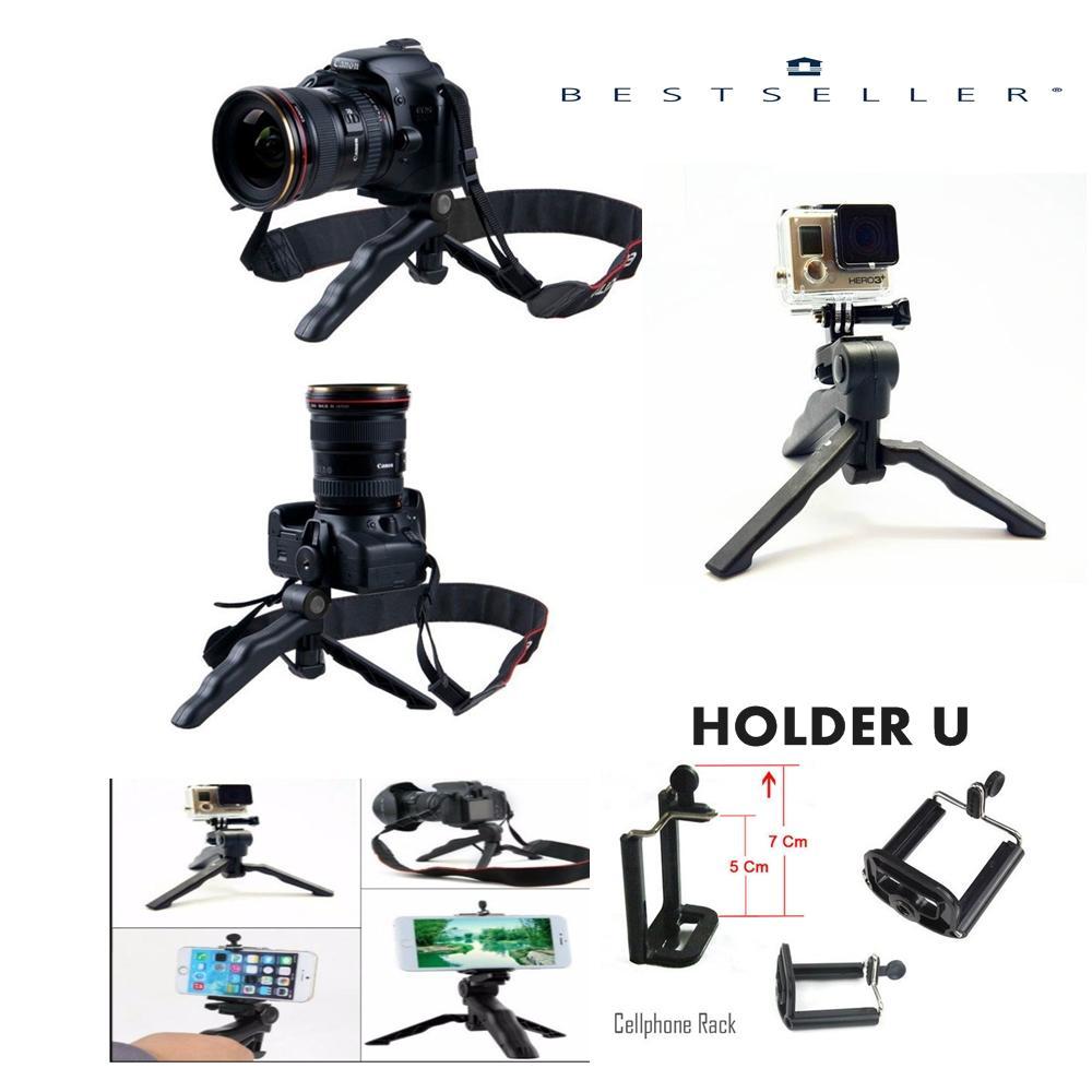 2 in 1 Portable Mini Folding Tripod for DSLR/Action Camera Or Smartphone + Holder