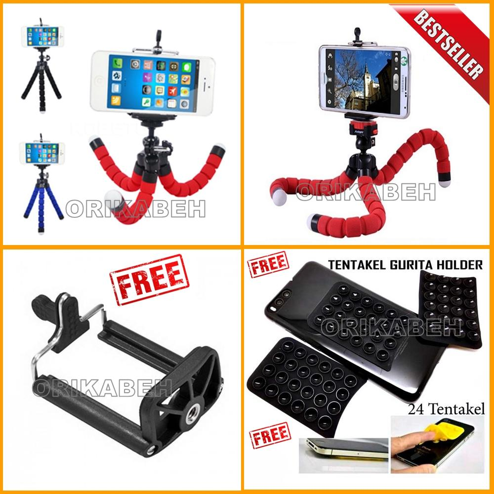 Universal Tripod Mini / Tripod Spider Untuk Hp & Kamera Pocket / Camera Action + Bonus Holder Gurita + Holder U - Warna Random [orikabeh ]