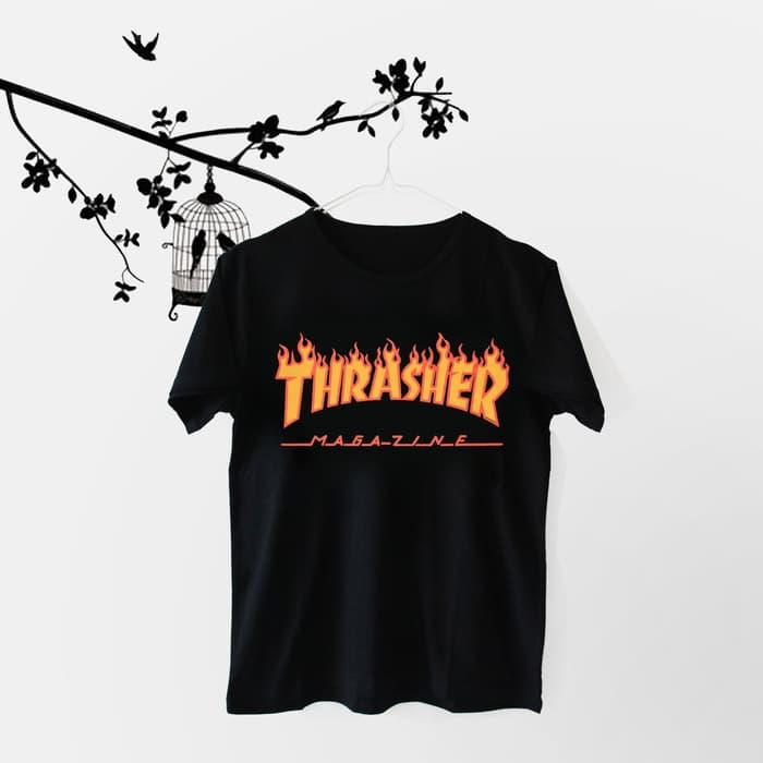 ... T-Shirt \\u002F Kaos Wanita Lengan Pendek Thrasher PutihIDR66000. Rp 66.000