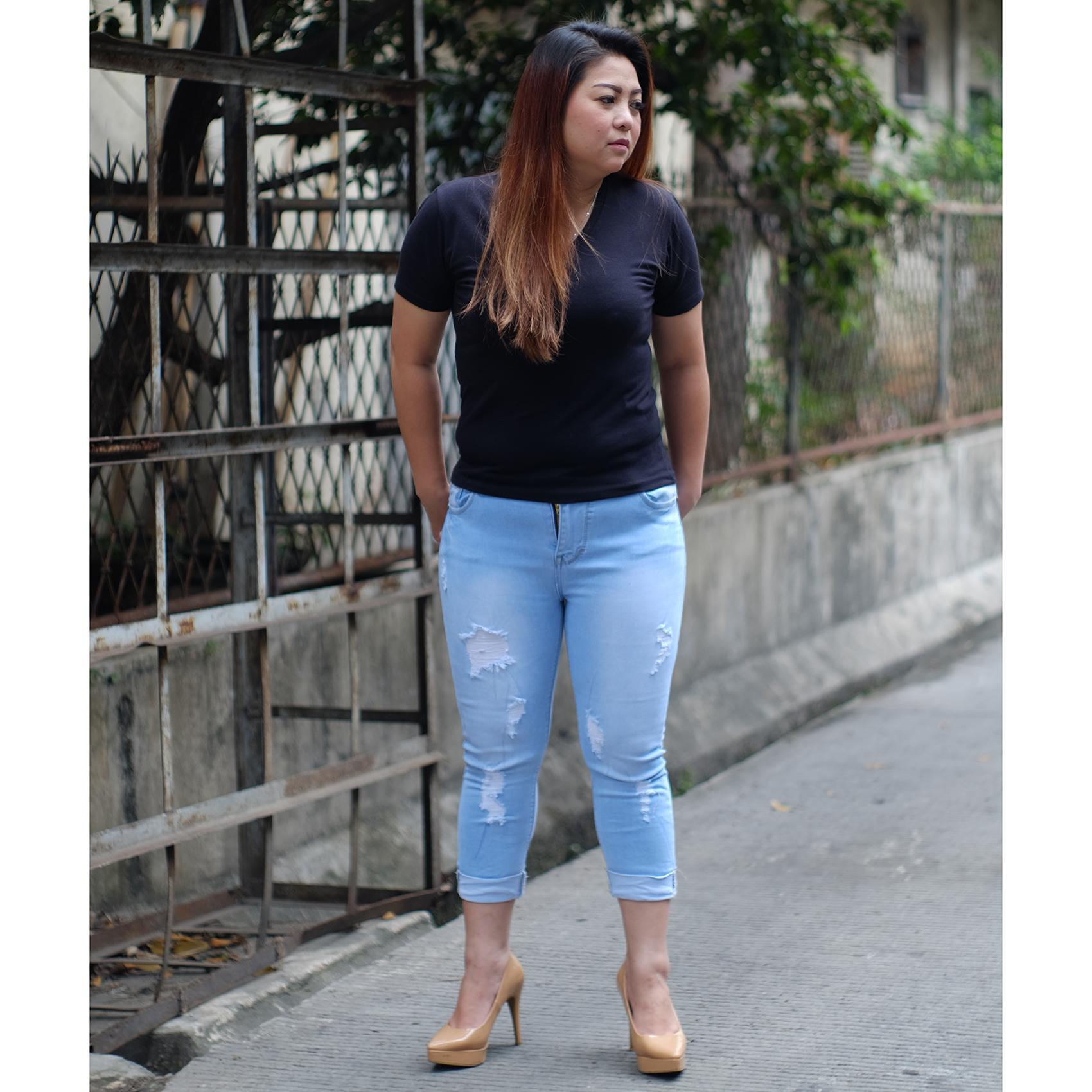Rumah Jeans / Celana Jeans Jumbo Wanita / 7per9 Ripped Jumbo Y182 / Jeans Ripped Bigsize Cewek