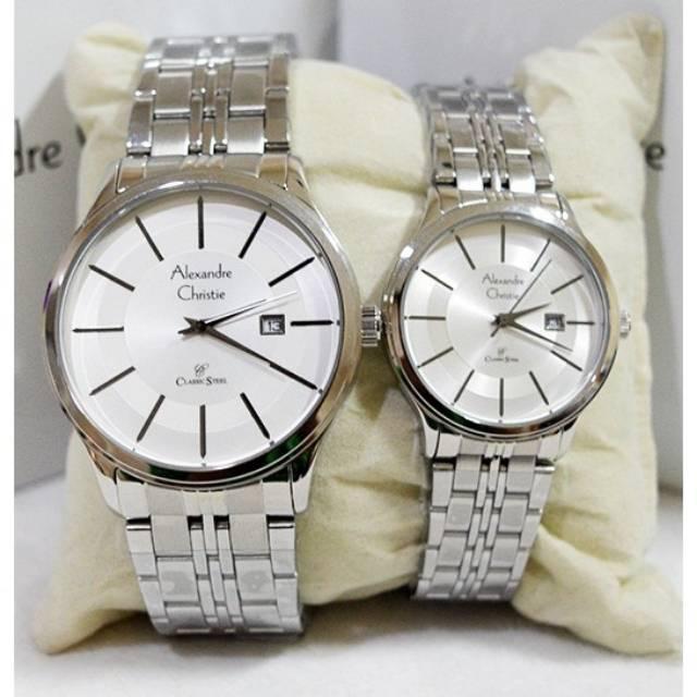 Jam Couple AC Alexandre Christie 8348 Silver Plat Putih Hitam Original
