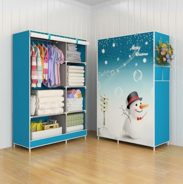 [PROMO TERMURAH] 03 Merry Christmas Multifunction Wardrobe Cloth Rack lemari pakaian Lemari Pakaian / Kayu / Portable / Anak / Kayu Jati / Plastik Murah / Plastik Portable / Plasting Gantung / Sliding / Bayi