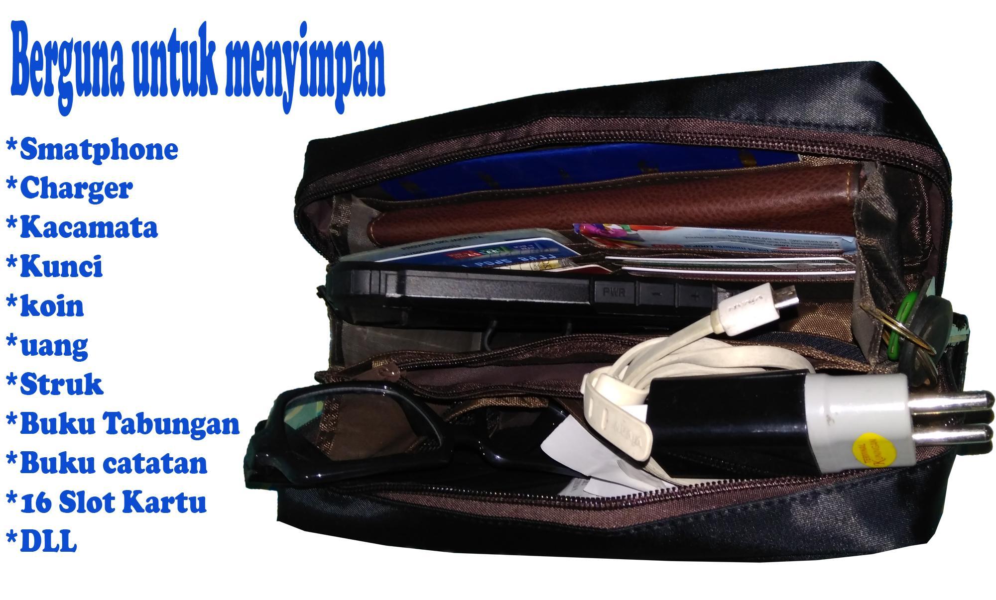 Handphone  struk  Charger  acessoris  16 Kartu  uang  koin  Lipstick   kalung  Dll Banyak skat ruang a lebih rapih dan tertata isi a 6 pilihan  warna  Hitam ... 2d8b9a5244