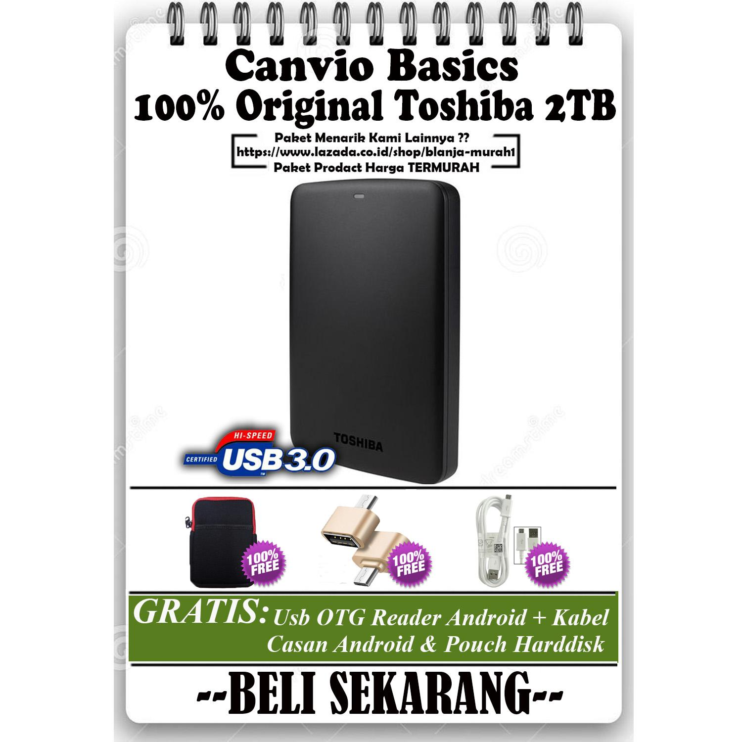 Toshiba Canvio Basics 2TB - HDD / HD / Hardisk Eksternal - Black GRATIS Pouch Harddisk Ext + Usb OTG Reader Android & Kabel Charger Micro Android