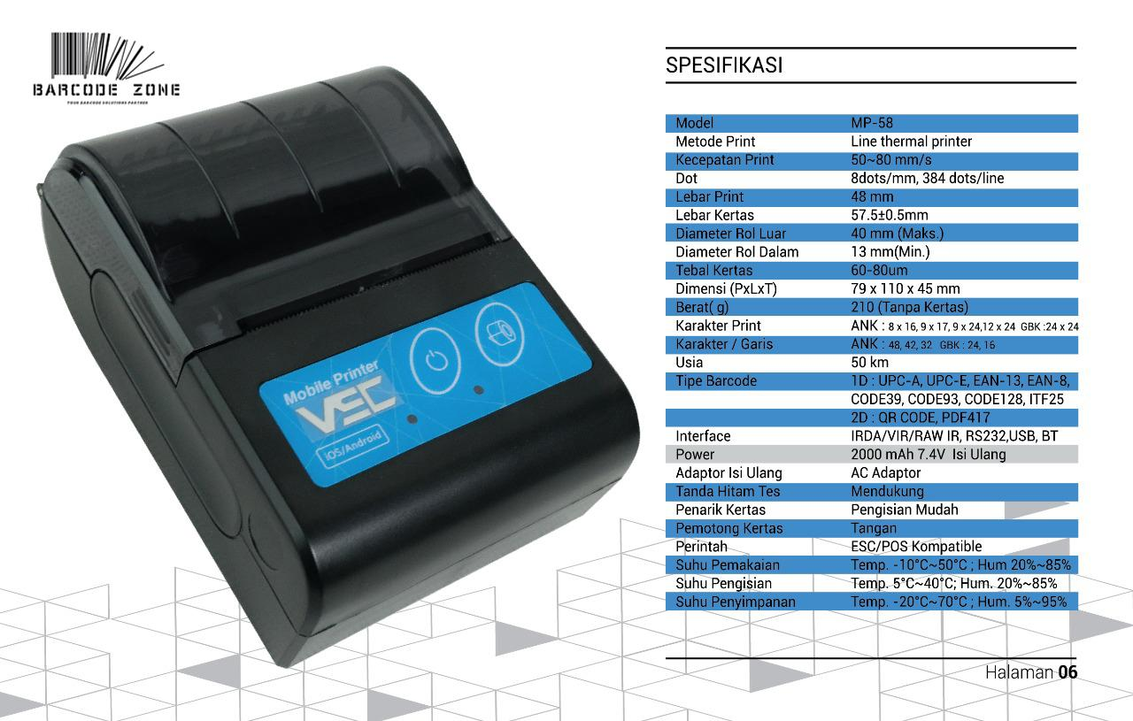 Mobile Printer Bluetooth VSC MP-58X Printer PPOB/KASIR (USB+BLUETOOTH)