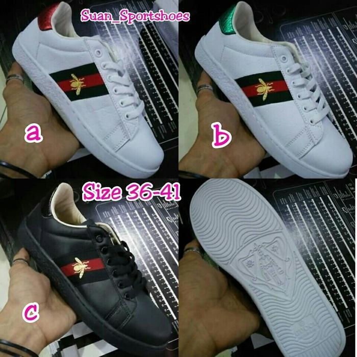 Sepatu Gucci Bee Patern Sneakers Ladies