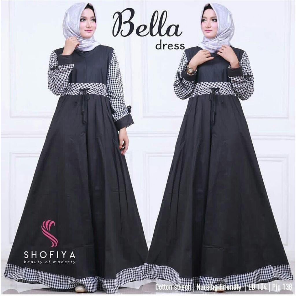 Bella dress / gamis Bella / Fashion dress remaja muslim (marun)