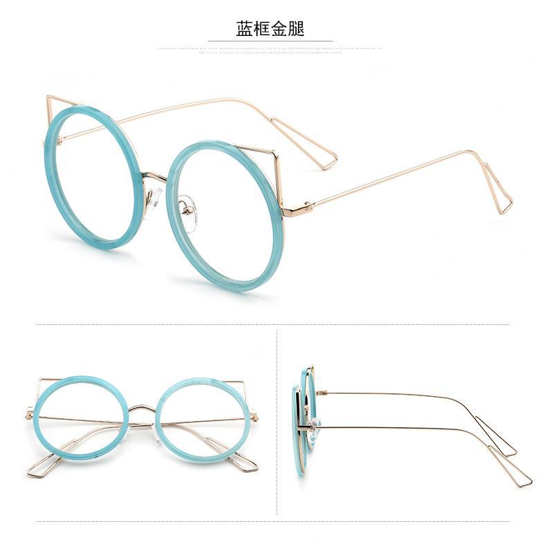 Harajuku Bingkai Kacamata Gaya Korea Cahaya Bingkai Kacamata Retro Logam  Warna Emas Bundar Perempuan 445ef7ac6d