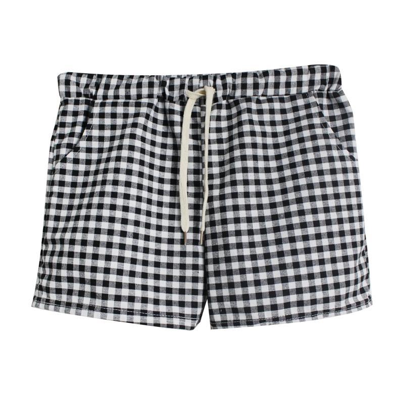 Mi Lane Kotak-Kotak Celana Pendek Perempuan Musim Panas Pinggang Elastis Rumahan Celana Tidur Casual