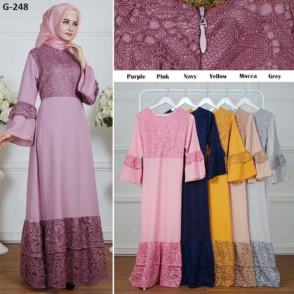 Busana Muslim Wanita Kombinasi Brokat Import (Busui), Gamis Wanita / Gamis Cewek / Gamis Elegan / Import