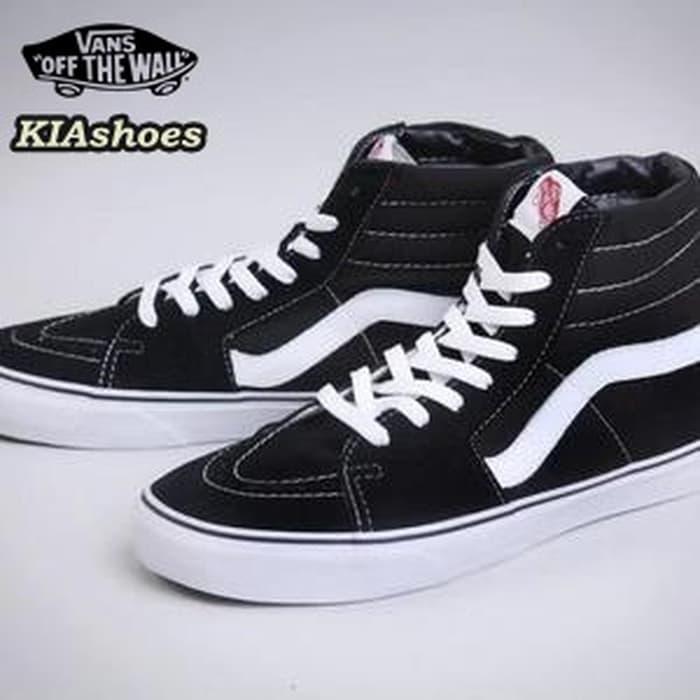 Vans Sk8-Hi/vn-0d5ib8c asli tinggi atas sepatu, sepatu pria (Hitam)