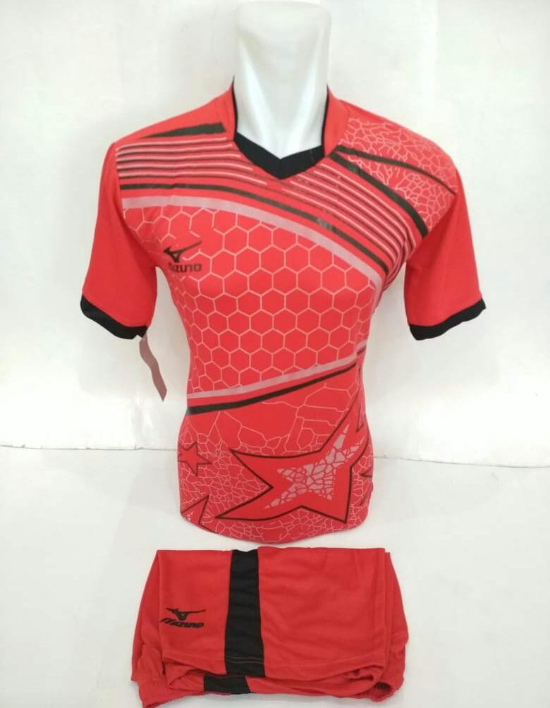 Baju Kaos Olahraga Jersey Bola Setelan Futsal Volley Mz 19 Merah