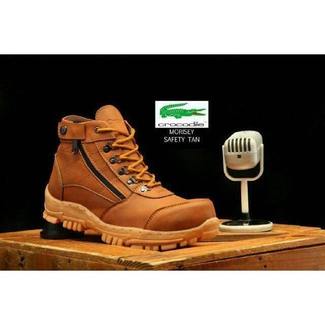 Sepatu Safety Boots Pria Crocodile cokelat Model Armour delta bertali resleting bickers hiking gunung