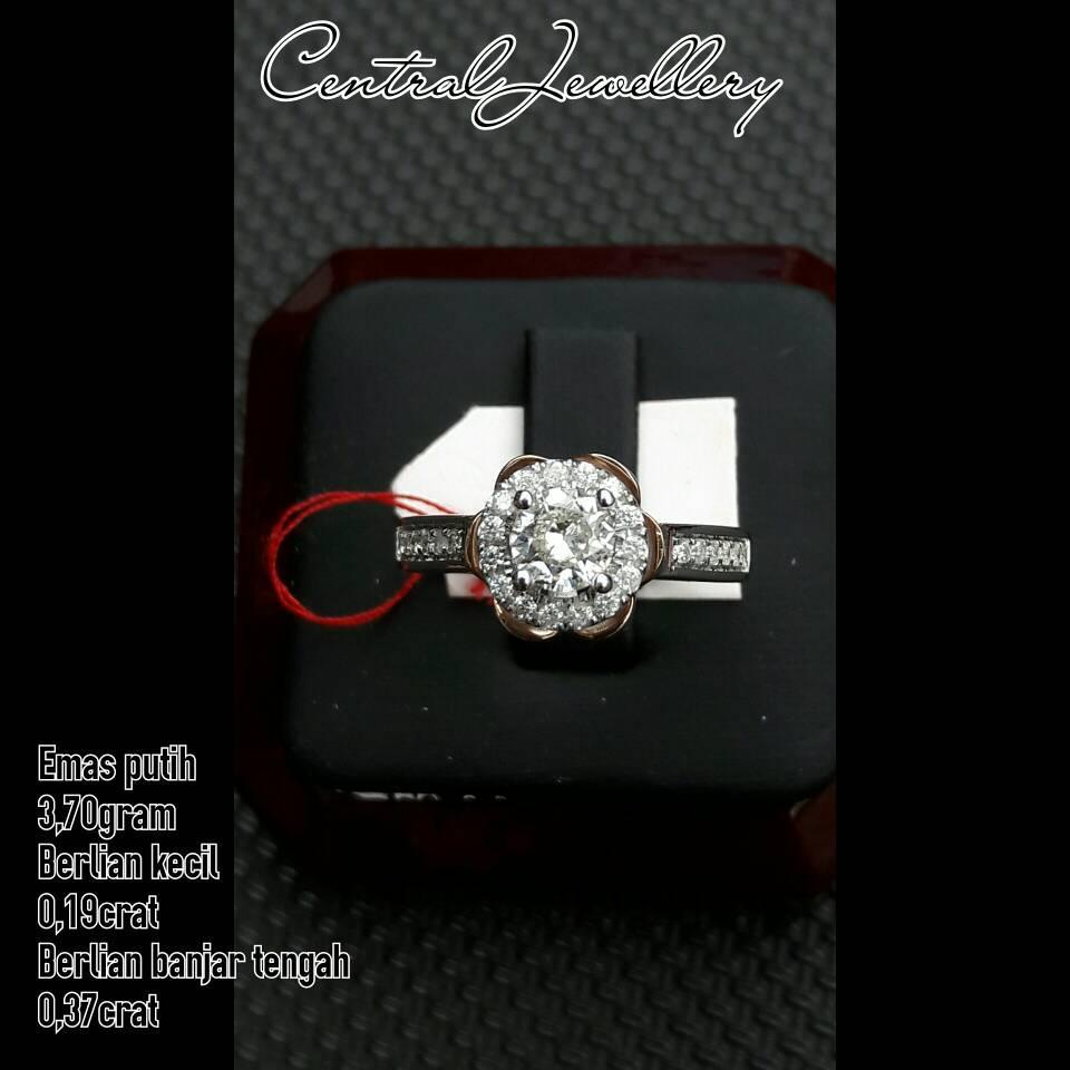 cincin cewe solitare emas putih berlian banjar asli