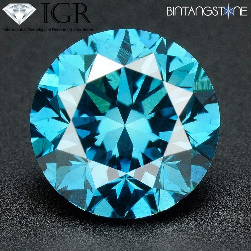 Blue Diamond 1.8 Mm 0.025 Cts Si Certified Natural Africa Berlian Asli Sertifikat Igr By Bintang Stone.