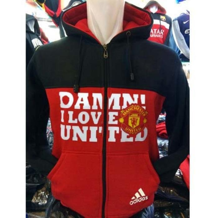 Jaket Hoodie Bola M-427 Damn I Love Manchester United Red Army Indo
