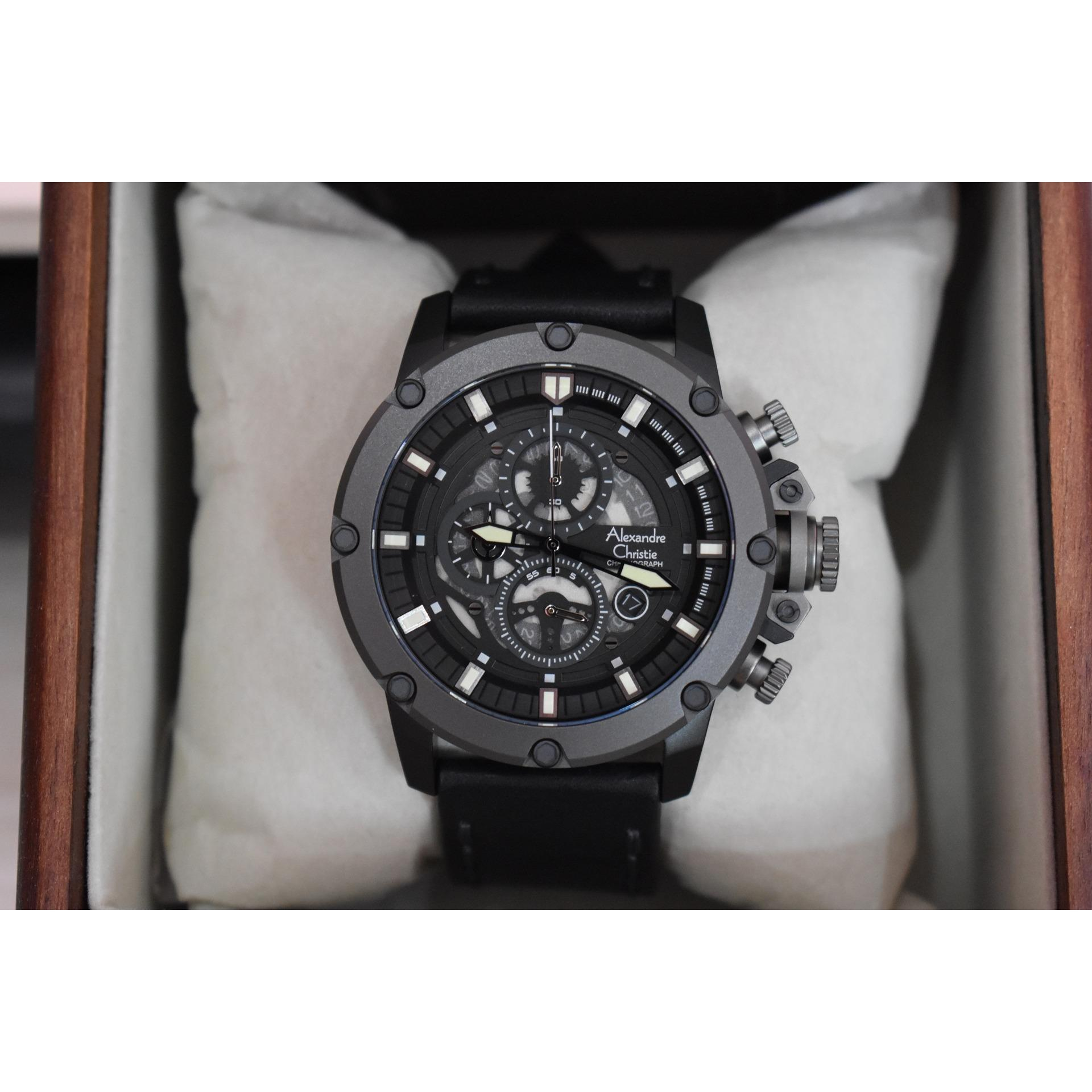 Alexandre Christie Ac6416mc Jam Tangan Pria Strap Leather Hitam 8440 Mslssba Silver Original Cowok Ac6416 Ac 6416 Mc Grey Black