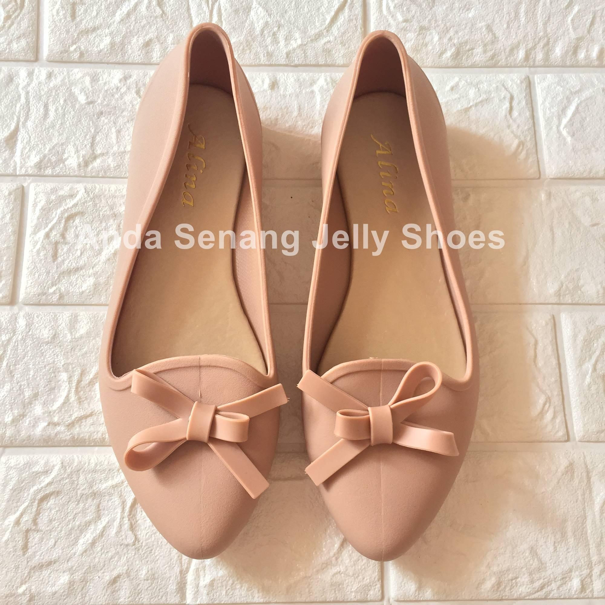 Termurah Sepatu Wanita Kerja Sepatu Flat Jelly Shoes Pita Ribbon Flat Shoes Wanita
