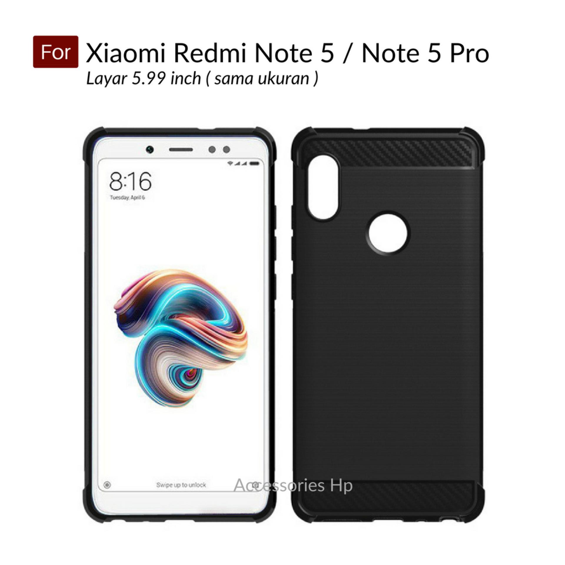 Accessories Hp Brushed Carbon Crack Case Xiaomi Redmi Note 5 / Note 5 Pro ( 5.99 inch ) - Black
