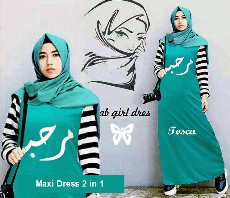 Flavia Store Maxi Dress Lengan Panjang Set 2 in 1 FS0654 - HIJAU TOSCA / Gamis / Gaun Muslimah / Baju Muslim Wanita / Hijab / Srriha