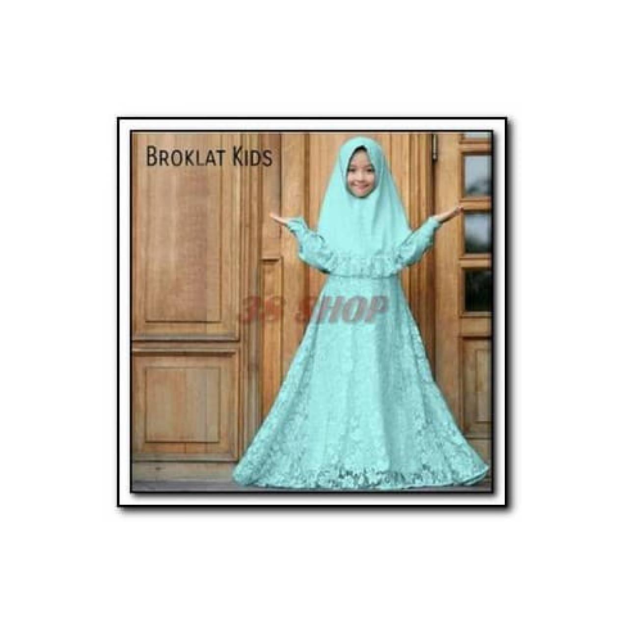 Best Seller Setelan Gamis syari Brokat anak Broklat Kids tosca Umur 7-