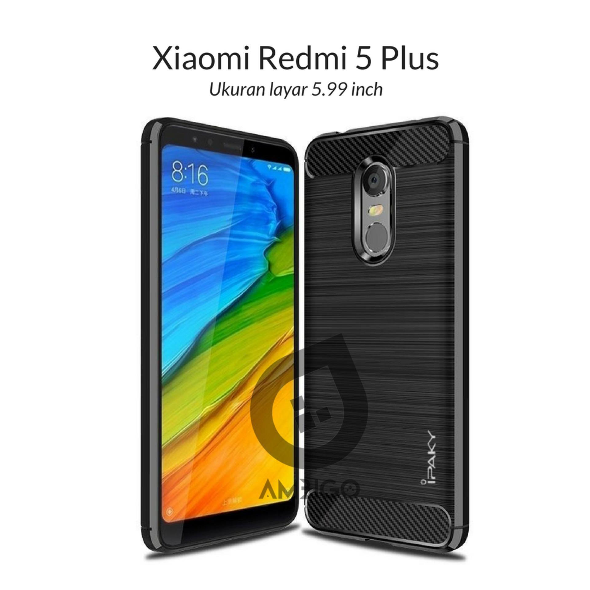 Ambigo Case Xiaomi Redmi 5 Plus ( 5.99 inch ) Premium TPU Quality Carbon Shockproof Hybrid