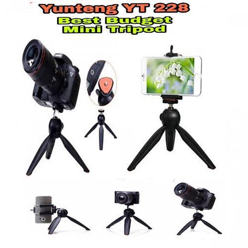 Tripod YunTeng YT-228 Mini Tripod Mount + Phone Holder Clip Desktop Self-Tripod for Digital Camera And Smartphone - Hitam
