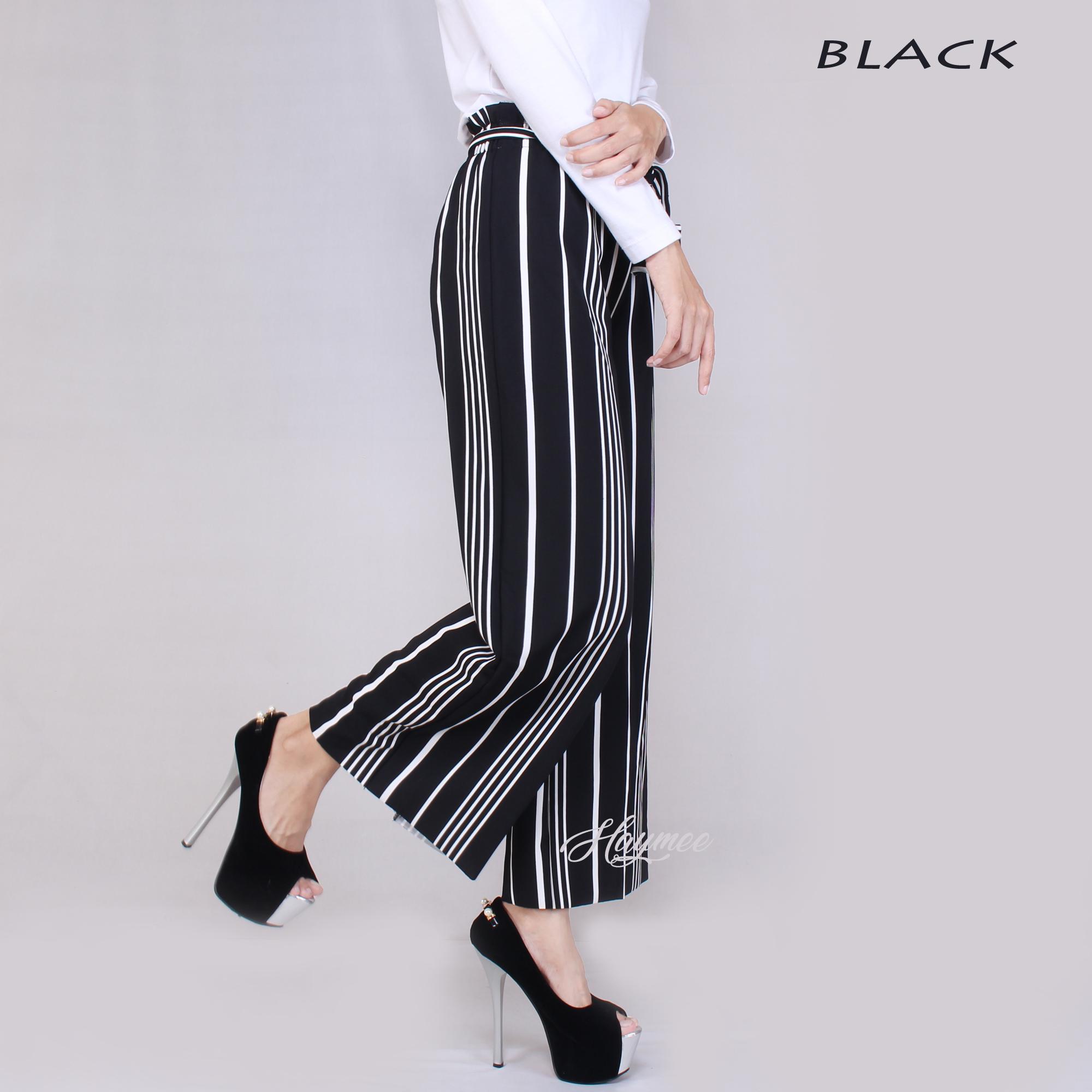 Ace Fashion Axel Cullote Pants Celana Kulot Wanita Cream Daftar Midi Nda Fjn822b Inc 5978 Salur Plisket Pleats Cullot Cewek Pinggang Tali
