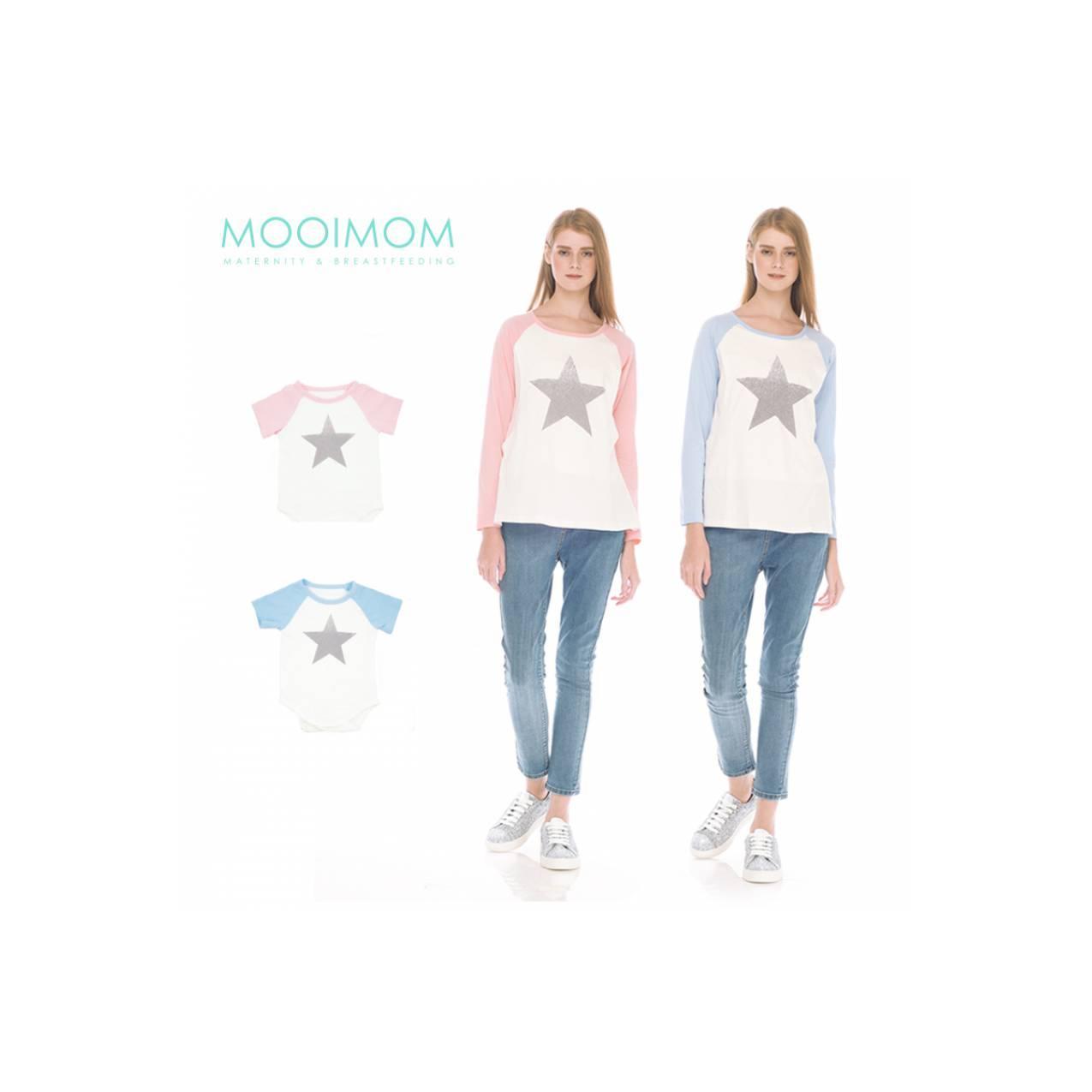 MOOIMOM Star Long Sleeve Nursing T-shirt Couple Baju Hamil Menyusui
