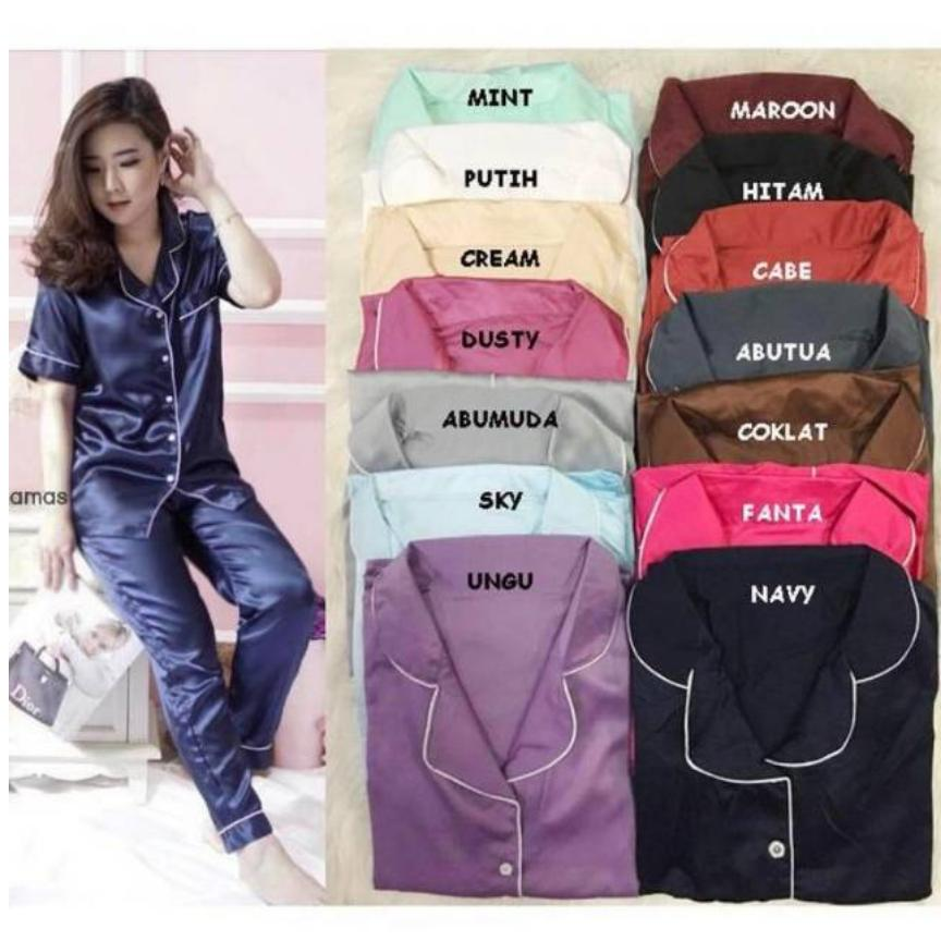 hokyfashion CP Piyama Pajamas Saten sleepwear saku baju satin silky velvet