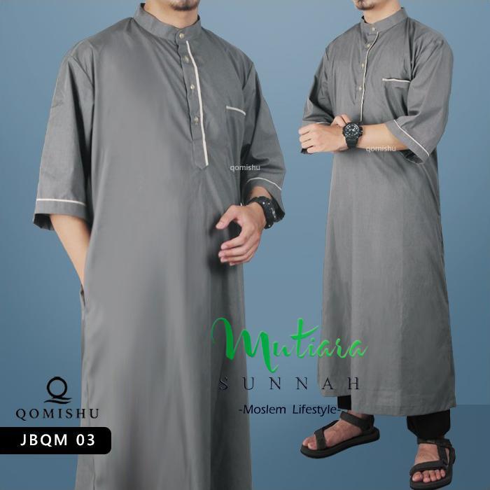 Gamis Muslim Pria Gamis Lengan Pendek Jubah Pria Baju Muslim Pria Gamis Pria JBQM 03